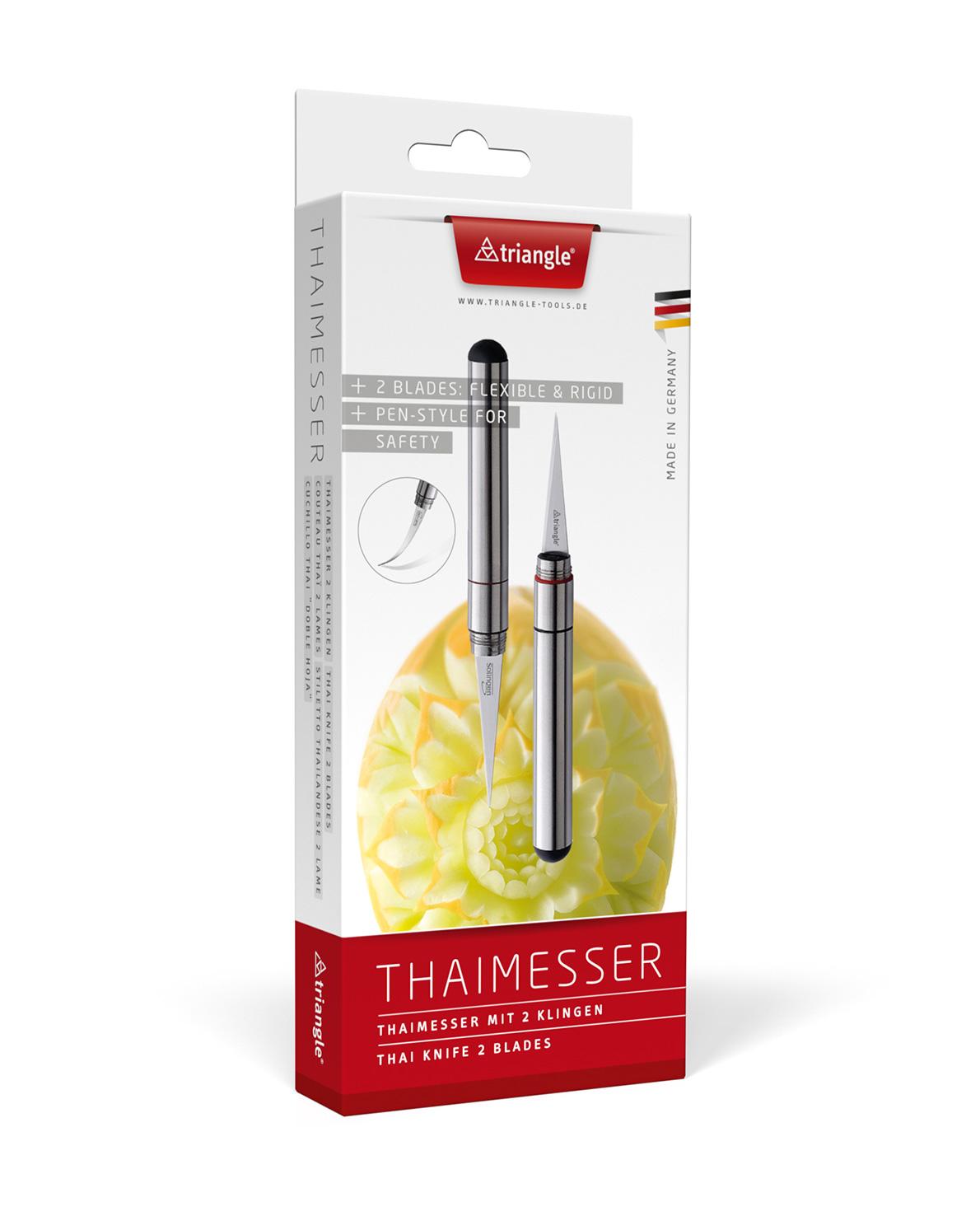 triangle Thaimesser mit 2 Klingen flexibel fest Stift Carving Schnitzmesser Thai Verpackung im Karton