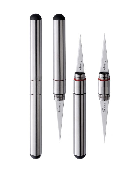 triangle Thaimesser mit 2 Klingen flexibel fest Stift Carving Schnitzmesser Thai
