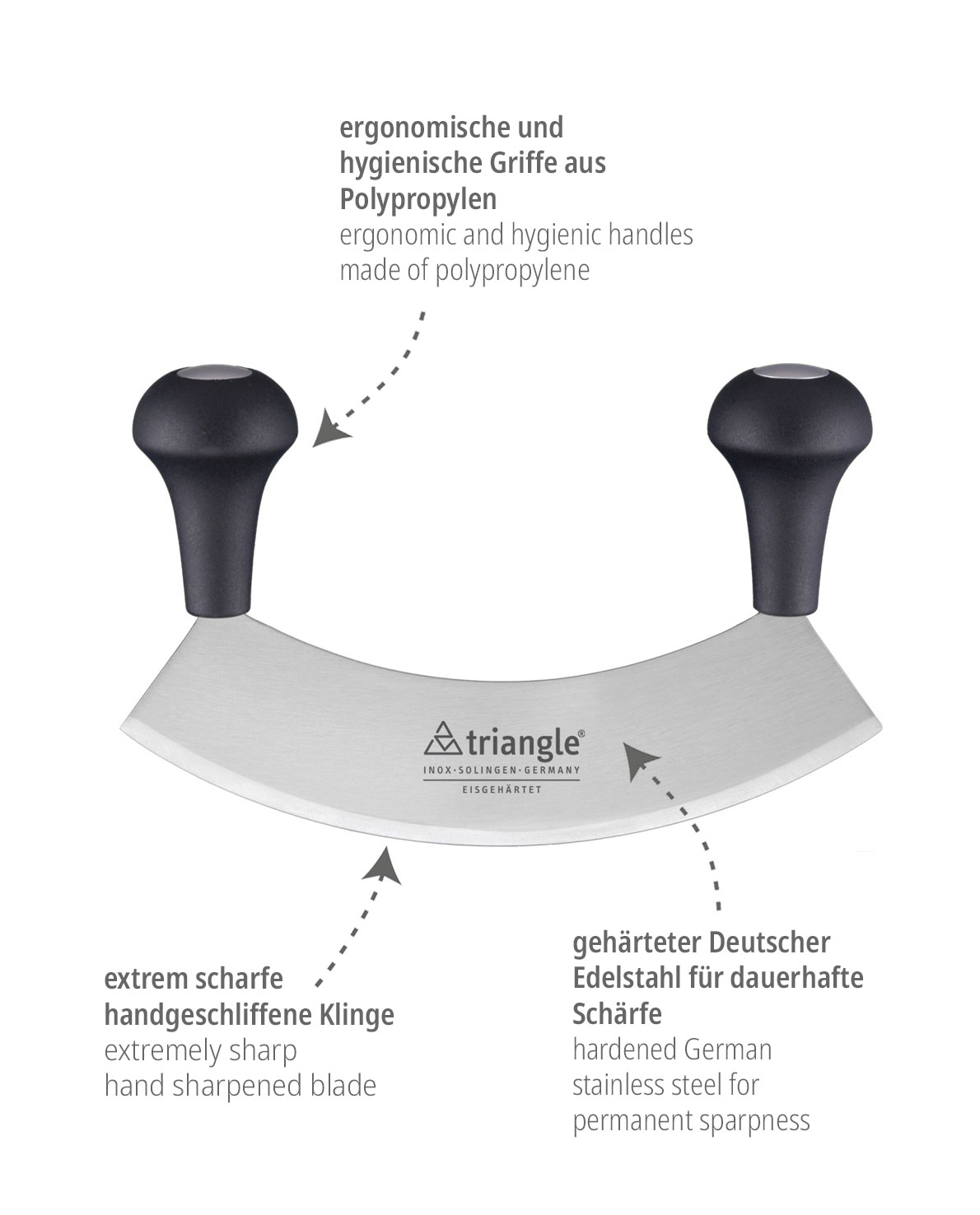 triangle Wiegemesser einschneidig mit gehärteter Klinge Käutermesser Hackmesser Solingen Deutschland hochwertig scharf extra mittel groß 18 17,5 cm