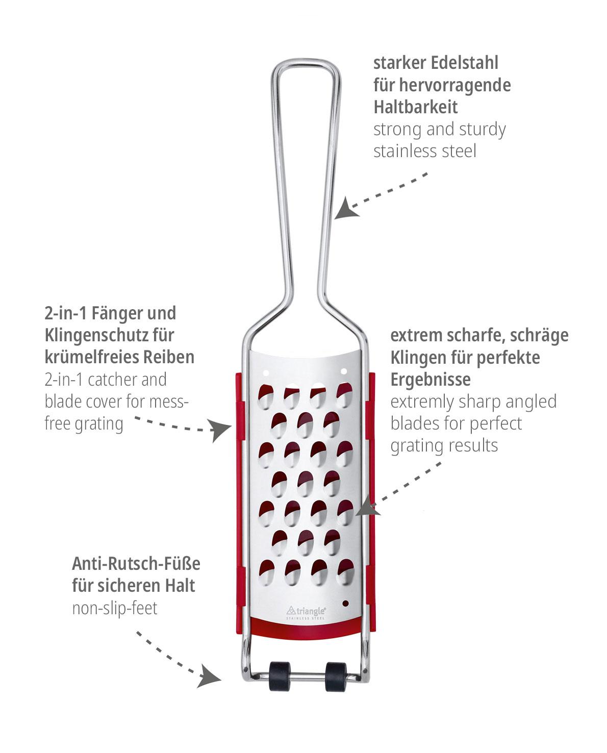 triangle Reibe grob mit Fänger Auffangbehälter Gemüsereibe Microplane Rösti