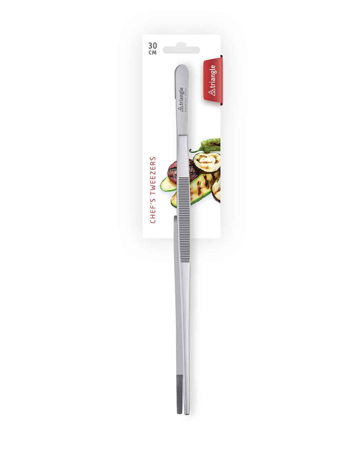 triangle Küchenpinzette 30cm gerade Kochpinzette Pinzette Edelstahl Kochen Chefpinzette Anrichten Grillpinzette