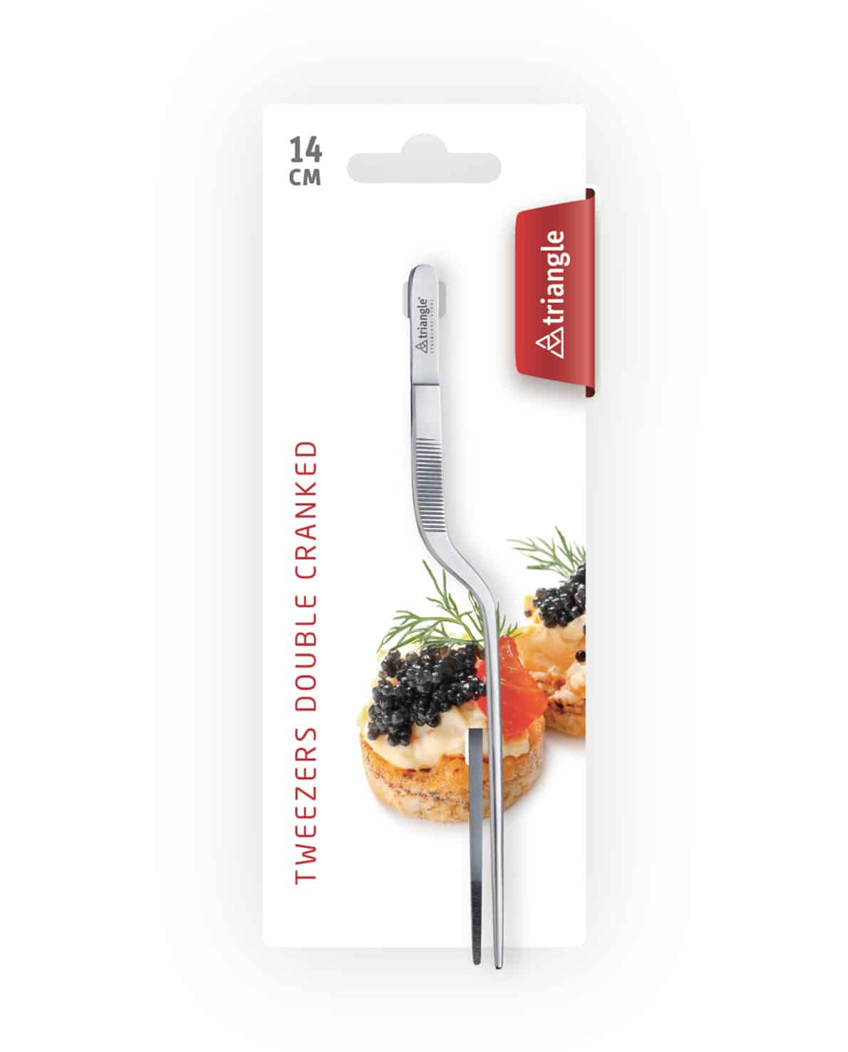 triangle Kochpinzette Küchenpinzette 15 cm Chefpinzette zweifach doppelt gebogen gekröpft Edelstahl klein fein carving Food Art Karte Verpackung