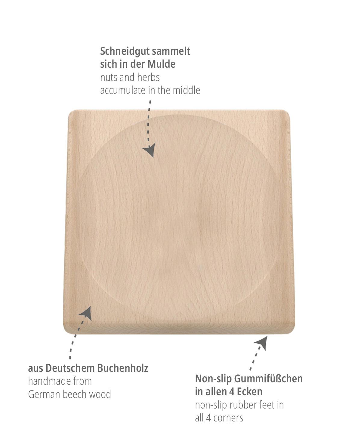 triangle Schneidbrett für Wiegemesser Brett Holzbrett Schneidebrett Mulde Delle Vertiefung