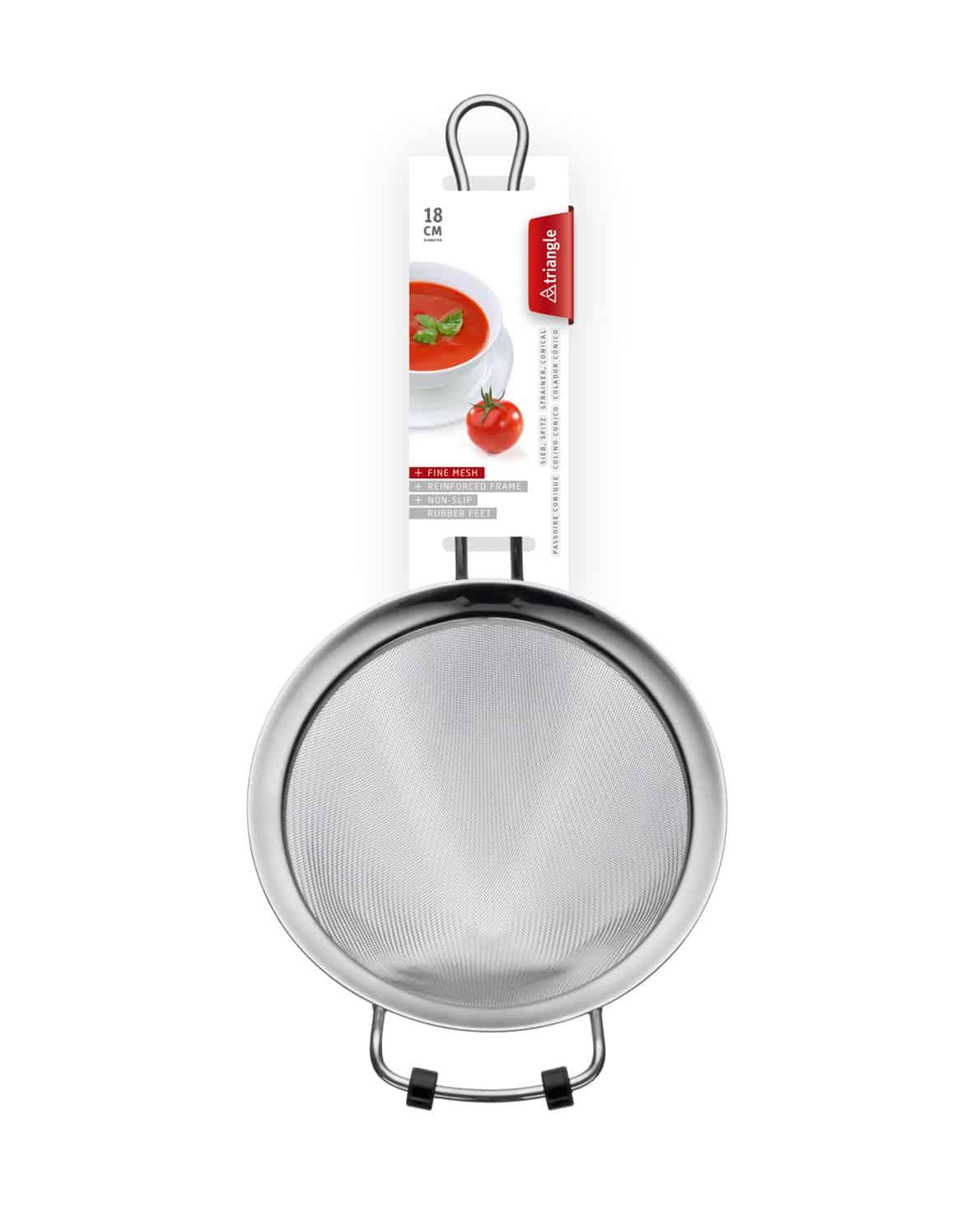 triangle Spitzsieb fein 18cm mit Anti-Rutsch-Füßchen und Verpackung Küchensieb Passiersieb