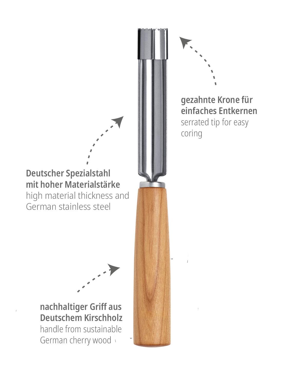 triangle Apfelentkerner Mood mit Kirschbaum Holzgriff Kirschholz Küchenwerkzeug Küchenwerkzeuge Küchenhelfer Made in Germany aus Deutschland Solingen nachhaltig umweltfreundlich