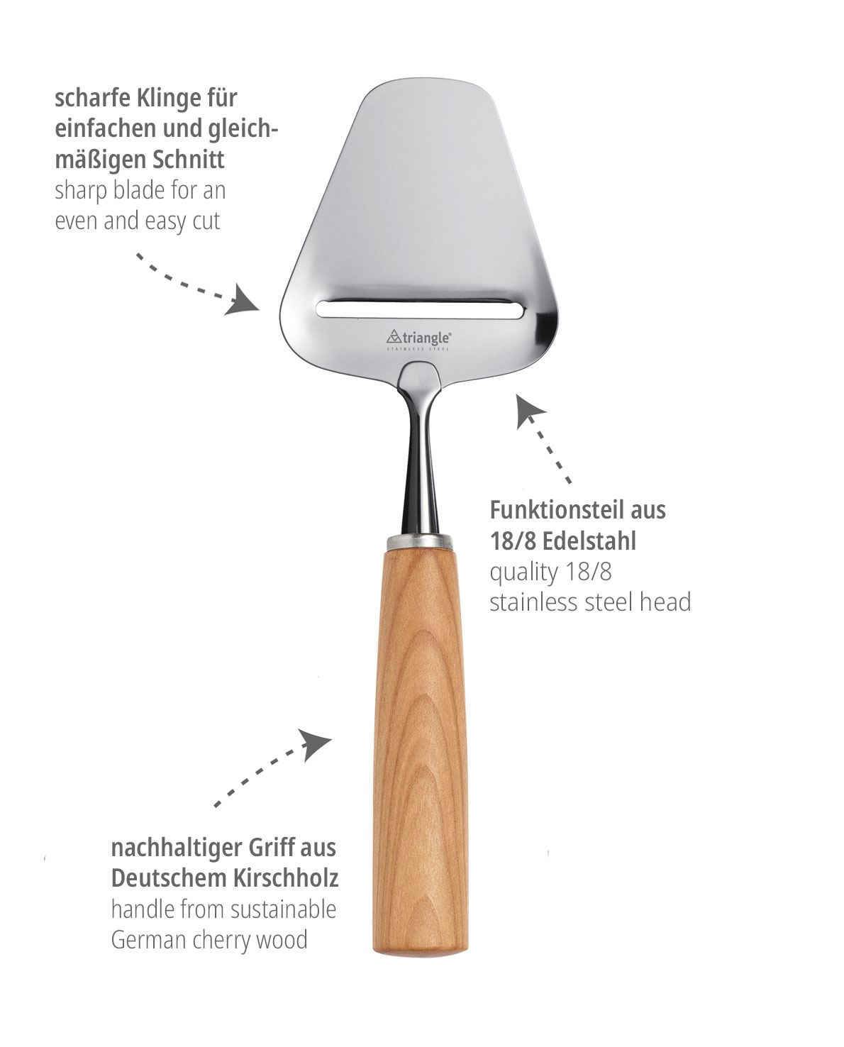 triangle Käsehobel Mood Käseschneider mit Kirschbaum Holzgriff Kirschholz