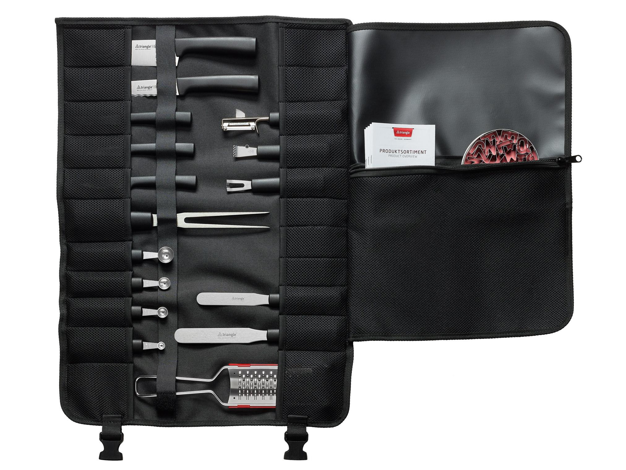 triangle Kochschultasche Messertasche offen groß viel Platz Rolltasche schwarz