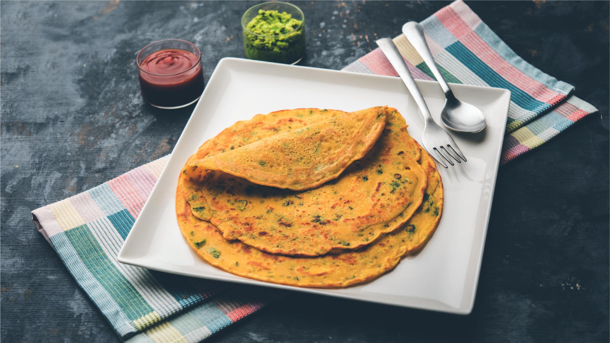 Besan ka Chilla Cheela pancake vegan vegetarian with vegetables without egg
